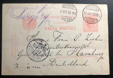 1905 Bucarest Romania Stationery postcard Cover To Hamburg Germany