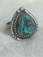 Vintage Sterling Silver Turquoise Southwest  Ring Size 5.5 6.1g Tribal