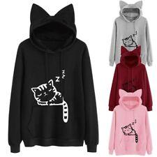 Long Sleeve Women Cute Cat Pattern Print Cat Ear Hoodie Pullover Sweatshirt Top