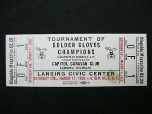 Vintage RARE 1956 Golden Gloves BOXING Champion Tournament Ticket Lansing MI  40