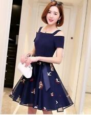 OPEN SHOULDER DRESS WITH TIE (JLH) Navy Blue