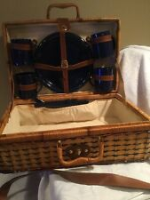 wicker picnic basket set