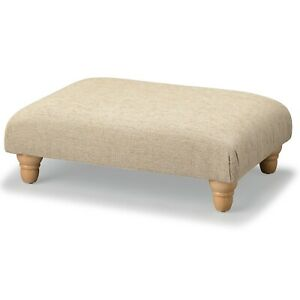 BIAGI Upholstery & Design Long Champagne Beige Footstool + Solid Wood Feet