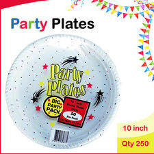Disposable Plastic Plates 10 Inch 250/Pc Round White Plate Party Occasions New