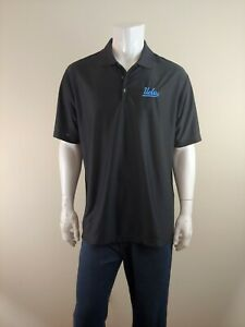 New Adidas Climacool UCLA Bruins Men's Embroidered Black Polo Shirt Size XL