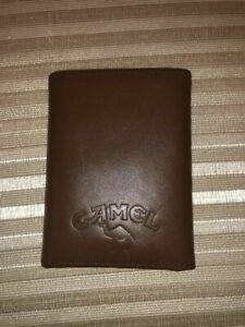 New Vintage CAMEL Cigarette Logo Mens Genuine Leather Brown Wallet