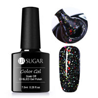 7.5ml Soak Off UV Gel Nagellack Holographische Pailletten Schwarz Nagel UR SUGAR