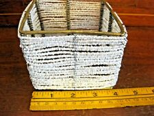"""Gold Wire Frame White Seed Beaded Candle Holder Container 4"""" Square"""