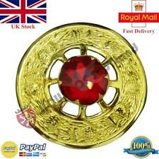 """Scottish Kilt Fly Plaid Brooch Red Stone Gold Plated 3"""" Celtic Pin & Brooches"""
