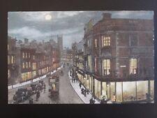 Derbyshire DERBY Cornmarket Albert St by MOONLIGHT c1903 Postcard by Valentine