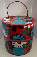 Vintage Large Mod Red Floral Vinyl Wig Hat Carrying Box Case w/ Zipper & Handle