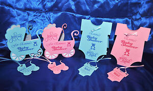 Personalised Baby Shower invitations with matching thank you tag ~ hand made