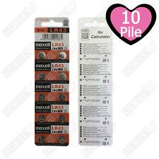 10 BATTERIE ALCALINE LR43 MAXELL 1,5v  PREZZO STOCK IMPERDIBILE