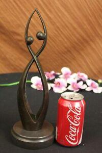 Signed Original Modern art Creation of Two Being Bronze Sculpture Abstract Decor