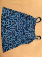 Lands End 4 Tankini Swimsuit Top Womens Blue Floral