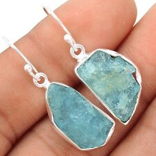 Aquamarine Rough 925 Silver Earrings Jewelry SE109390