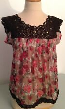 Hazel Anthropologie Boho Design Floral Print Top/Blouse Sheer/Crochet/Studs  S/M