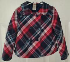 Gymboree New York Girl Size 5 Red Pink Navy Flannel Plaid BLAZER Jacket
