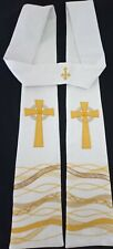 NEW Hand made white damask clergy stole, Celtic cross over waves