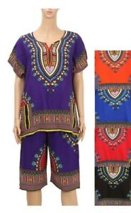 Women Casual African Dashiki Short Sleeve & Capri Pants 2 PCs Sets Outfit #3021