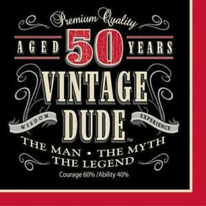 New 50 Vintage Dude Male Birthday Party Paper Plates & Napkins Party Decorations