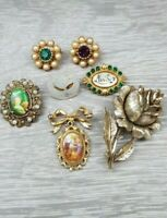 Vintage Rhinestone mother of pearl faux pearl Flower brooch lot