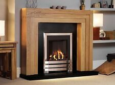 "GAS OAK SURROUND BLACK MARBLE GRANITE MODERN CHROME FIRE FIREPLACE - LARGE 54"""