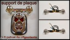 Support de plaque Chrome + 2 paires de clignotants Skull Yeux Noir moto custom
