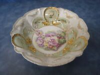 Antique R.S. Prussia Unmarked Hand Painted Large Serving Bowl Scalloped Gold