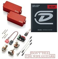 EMG P BASS RED ACTIVE PRECISION REPLACEMENT PICKUP POTS & WIRES ( BASS STRINGS )