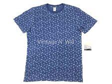 RVCA x M.Oblow Mens L Batik Block Blue Indigo Dye Print T-Shirt Art Surf Skate