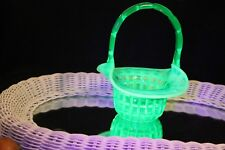 """VINTAGE RARE FENTON WAFFLE EMERALD GREEN OPALESDENT 8"""" BASKET #6133 MADE IN 1960"""