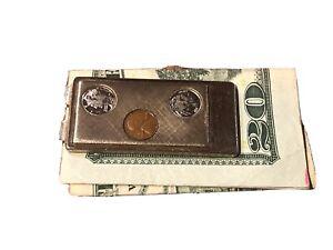 Vintage Anson Money Clip, W/Faux Mercury Dime/Penny/Indian Head Nickel Displa