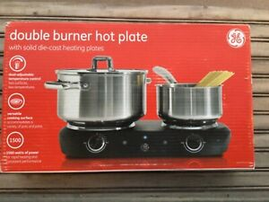 GE Double Burner 169214 Electric Hot Plate-Works Great! 1500 Watts Total.