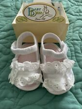 Baby Deer Natural Linen Soft Sole Sandal with Flower  Baby Size 0 1 2 3