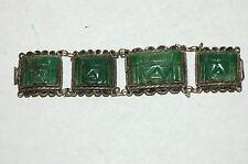Vintage 4 Panel Mexican Jade Bracelet Sterling Silver