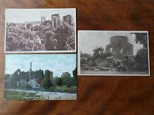 Lot100h  3x Views of Priory & Castle CHRISTCHURCH  Ruins Postcards c1908-19