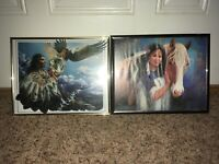 Vintage Native American Prints - Indian Animal Spirit And Woman With Horse Frame