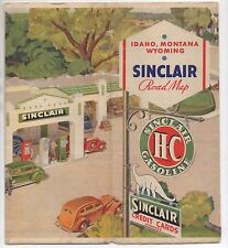 1930s Sinclair Gasoline Road Map of Idaho Montana Wyoming w/ Great Cover