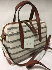 NEW FOSSIL SYDNEY Neutral Striped Satchel Convertible Crossbody Domed Purse