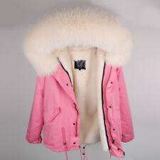 New Luxury Real Large Fox Fur Collar Hooded Coat Women Cotton Short Parka Jacket