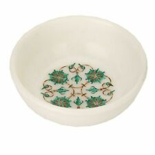 """5"""" White Marble Fruit Bowl Floral Inlay work Art Home kitchen Decor"""