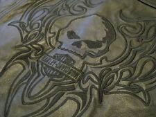 Harley Davidson Motorcycle Leather Vest Jacket Wllie G Skull Tribal Flame Mens M