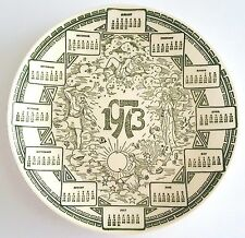 1973 Calendar Plate Vintage Retro Birthday Collectible White Green Astrology