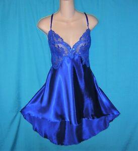 EXQUISITE Torrid ROYAL BLUE SATIN Floral LACE Lingerie Chemise NIGHTIE L/XL Sz 1