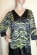Evans Size 18 Black and Green tie back tunic top F5