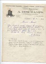 N°5730 / lettre construction de préssoir A.Deschamps  LE BUSSEAU  deux-sévres