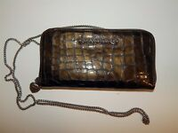 Brighton Metallic Khaki Patent Leather Organizer Wallet w/ Crossbody Chain