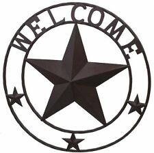 Rustic 24 inch Welcome Wall Sign with Raised Star center & 3 Star Accents