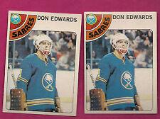 2 X 1978-79 OPC # 150 SABRES DON EDWARDS  GOALIE  CARD (INV#5119)